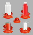 tomato juice package realistic mockup set vector image