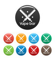 trendy vape bar icons set color vector image vector image