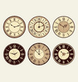 vintage clock elegant antique metal watches vector image