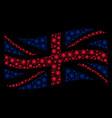 waving british flag pattern of sun icons vector image