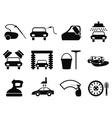 car washing icons set vector image