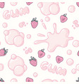 seamless pattern with strawberry bubble gum vector image