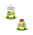 flat people travelling in car set isolated vector image