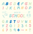 alphabet sketched style back to school vector image vector image