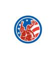 American Basketball Player Dunk Block Circle Retro vector image vector image