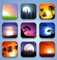 background for app icons-summer landscape set vector image vector image