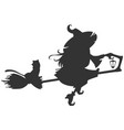 black silhouette of witch flying on broom vector image