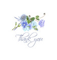 blue flower thank you card vector image vector image