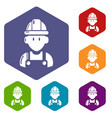 builder icons hexahedron vector image