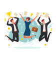 business victory concept winning jumping happy vector image