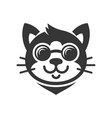 cat in glasses cartoon face icon vector image vector image