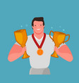 champion with winner cup and medal championship vector image