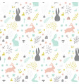 childish seamless pattern with bunny hand drawn vector image