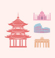 china and italy germany and india icons set vector image vector image