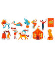 circus performance acrobats and trained animals vector image vector image