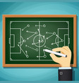coach draws tactics play in football vector image vector image