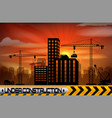 construction site with buildings and cranes vector image