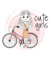 cute girl with bike cartoon vector image