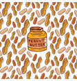 Cute seamless pattern with peanuts and butter jar