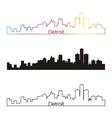 Detroit skyline linear style with rainbow vector image vector image