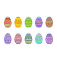easter eggs on a white background vector image vector image