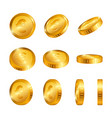 euro gold coins isolated on white background vector image