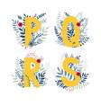 floral alphabet letter p q r s set vector image