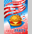 fourth july independence day grill party banner vector image vector image