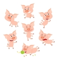 Funny little smiling pig in various poses cartoon vector image