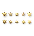 gold 3d stars isolated on white vector image