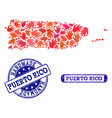 handmade composition of map of puerto rico and vector image