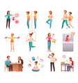 healthy lifestyle cartoon set vector image