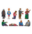 homeless people characters cadger set unemployment vector image