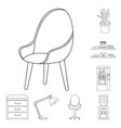 interior of the workplace outline icons in set vector image