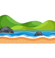 landscape background with green hills and blue sea vector image vector image