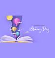 literacy day open book papercut hot air balloon vector image vector image