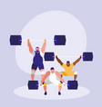men practicing lifting weight avatar character vector image vector image
