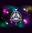 mystical drawing all-seeing eye orbits planets vector image vector image