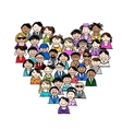 People icons heart shape for your design vector image vector image