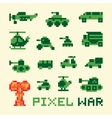 Pixel art war machines set vector image vector image