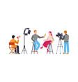 press interview with cameraman journalist vector image vector image