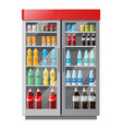 refrigeration showcase with drinks in colorful vector image