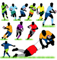 rugby players silhouettes set vector image vector image
