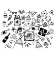 set hand drawn elements for holiday doodle vector image