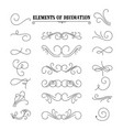 set of hand drawn flourish elements vector image vector image
