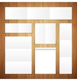 Set of White Banners on Wooden Surface vector image vector image