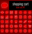 shopping cart icon set 1 white line icon on red vector image