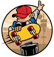 skater boy doing a jump ollie vector image vector image