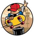 skater boy doing a jump ollie vector image