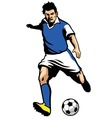 soccer player shooting a ball vector image vector image